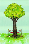 Illustrative image of tree protected by railing representing environment conservation