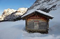 Mountain hut in the winter snow near Grindelwald - Swiss Alps - Switzerland
