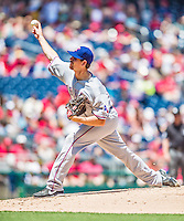 31 May 2014: Texas Rangers starting pitcher on the mound against the Washington Nationals at Nationals Park in Washington, DC. The Nationals defeated the Rangers 10-2, notching a second win of their 3-game inter-league series. Mandatory Credit: Ed Wolfstein Photo *** RAW (NEF) Image File Available ***