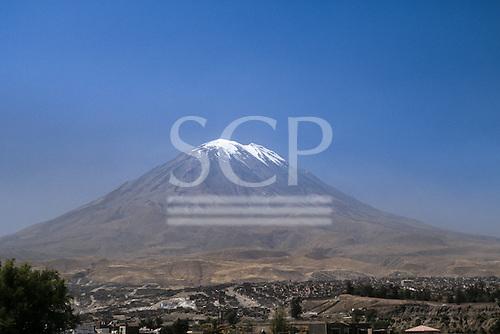 El Misti volcano, Arequipa, Peru. View of a classical snow-capped volcano.