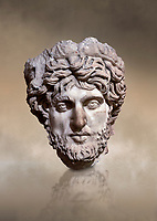 Roman statue head of a man. Marble. Perge. 2nd century AD. Inv no 2005/82. Antalya Archaeology Museum; Turkey. Against a warm art background.