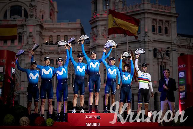 Team Movistar is the 'Nest Team' of this 2019 Vuelta<br /> <br /> Stage 21: Fuenlabrada to Madrid (107km)<br /> La Vuelta 2019<br /> <br /> ©kramon