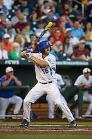 Ryan Larson (66) of the Florida Gators bats during a game between the Miami Hurricanes and Florida Gators at TD Ameritrade Park on June 13, 2015 in Omaha, Nebraska. (Brace Hemmelgarn/Four Seam Images)