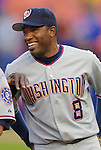 3 April 2006: Marlon Anderson, infielder for the Washington Nationals, smiles during pre-game introductions prior to the Opening Day game against the New York Mets at Shea Stadium, in Flushing, New York. The Mets defeated the Nationals 3-2 to lead off the 2006 MLB season...Mandatory Photo Credit: Ed Wolfstein Photo..