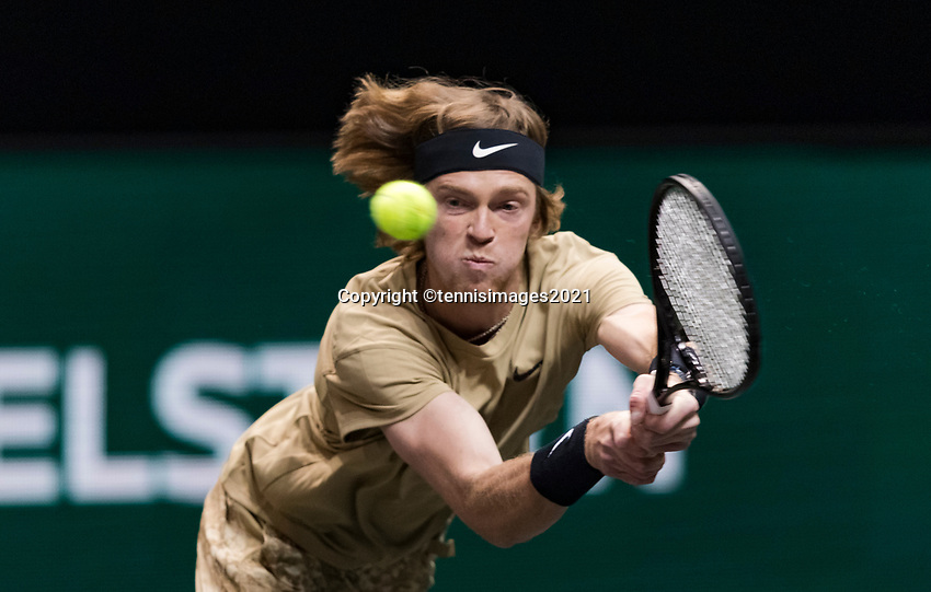 Rotterdam, The Netherlands, 5 march  2021, ABNAMRO World Tennis Tournament, Ahoy,  Quarter final: Andrey Rublev (RUS). Photo: www.tennisimages.com/henkkoster