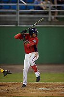 Potomac Nationals Gilbert Lara (6) at bat during a Carolina League game against the Myrtle Beach Pelicans on August 14, 2019 at Northwest Federal Field at Pfitzner Stadium in Woodbridge, Virginia.  Potomac defeated Myrtle Beach 7-0.  (Mike Janes/Four Seam Images)