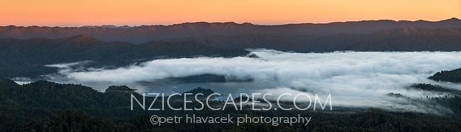 Dawn over Lake Waikaremoana, Te Urewera, Hawke's Bay, North Island, New Zealand, NZ