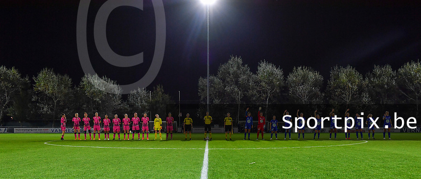 both team line ups  pictured before a female soccer game between  AA Gent Ladies and Sporting Charleroi Feminin on the fifth matchday of the 2020 - 2021 season of Belgian Scooore Womens Super League , friday 16 th of October 2020  in Oostakker , Belgium . PHOTO SPORTPIX.BE | SPP | DAVID CATRY