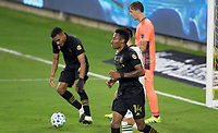 LOS ANGELES, CA - SEPTEMBER 13: Mark-Anthony Kaye #14 of LAFC scores a goal and celebrates during a game between Portland Timbers and Los Angeles FC at Banc of California stadium on September 13, 2020 in Los Angeles, California.
