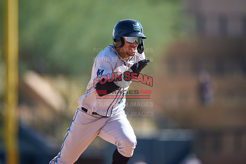 Salt River Rafters Victor Victor Mesa (10), of the Miami Marlins organization, runs to third base during the Arizona Fall League Championship Game against the Surprise Saguaros on October 26, 2019 at Salt River Fields at Talking Stick in Scottsdale, Arizona. The Rafters defeated the Saguaros 5-1. (Zachary Lucy/Four Seam Images)