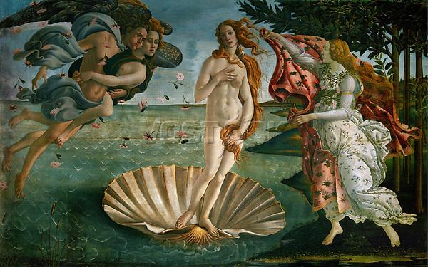Die Geburt der Venus. Tempera-Malerei. 1486 Künstler: Sandro Botticelli<br /> <br /> - 01.01.1486-31.12.1486<br /> <br /> The Birth of Venus. Tempera on canvas (1486). 134 x 175 cm. Inv. 878<br /> <br /> - 01.01.1486-31.12.1486