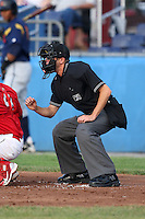 Home plate umpire Mike Patterson during a game at Dwyer Stadium in Batavia, New York on June 26, 2010.  Photo By Mike Janes/Four Seam Images