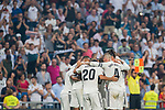 Players of Real Madrid celebrate for teammate Karim Benzema's scoring his second goal as soccer fans of the team applaud at the stand during the La Liga 2018-19 match between Real Madrid and CD Leganes at Estadio Santiago Bernabeu on September 01 2018 in Madrid, Spain. Photo by Diego Souto / Power Sport Images