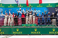 #31 Team WRT Oreca 07 - Gibson LMP2, Robin Frijns, Ferdinand Habsburg, Charles Milesi, #28 JOTA Oreca 07 - Gibson LMP2, Sean Gelael, Stoffel Vandoorne, Tom Blomqvist, #65 Panis Racing Oreca 07 - Gibson LMP2, Julien Canal, Will Stevens, James Allen 24 Hours of Le Mans , Podium, Circuit des 24 Heures, Le Mans, Pays da Loire, France