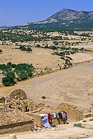 Tunisia, Le Kef.  Hammam Mellegue, Roman Era Baths, Three Arches Visible.