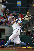 Myrtle Beach Pelicans outfielder Josh Richmond #3 at bat during a game against the Wilmington Blue Rocks at Tickerreturn.com Field at Pelicans Ballpark on April 8, 2012 in Myrtle Beach, South Carolina. Wilmington defeated Myrtle Beach by the score of 3-2. (Robert Gurganus/Four Seam Images)