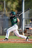 Dartmouth Big Green center fielder Matt Feinstein (23) hits a single during a game against the Northeastern Huskies on March 3, 2018 at North Charlotte Regional Park in Port Charlotte, Florida.  Northeastern defeated Dartmouth 10-8.  (Mike Janes/Four Seam Images)