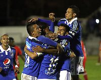 TUNJA -COLOMBIA, 4-OCTUBRE-2014. <br /> Mayer Candelo de Millonarios  celebra un gol anotado a Patriotas FC  durante partido por la fecha 13 de la Liga Postobón II 2014 jugado en el estadio La Independencia  de la ciudad de Tunja./ Mayer Candelo  player of Milonarios celebrates a goal scored to Patriotas during the match for the 13th date of the Postobon League II 2014 played at La Independencia stadium in Tunja city<br /> .Photo / VizzorImage / Felipe Caicedo / Staff