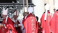 Papa Francesco consegna il Sacro Pallio agli arcivescovi metropoliti durante la Santa Messa della Solennità dei Santi Pietro e Paolo in piazza San Pietro, Citta' del Vaticano, 29 giugno, 2017.<br /> Pope Francis gives a box with the sacred pallium, a woolen shawl symbolizing their bond to the pope, to new Metropolitan Archbishops during the mass for the imposition of the Pallium and the solemnity of Saints Peter and Paul in St. Peter's Square at the Vatican, on June 29, 2017.<br /> UPDATE IMAGES PRESS/Isabella Bonotto<br /> <br /> STRICTLY ONLY FOR EDITORIAL USE