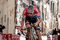 Mathieu Van der Poel (NED/Alpecin-Fenix) pulling away from the competition on the final steep climb in Siena<br /> <br /> 15th Strade Bianche 2021<br /> ME (1.UWT)<br /> 1 day race from Siena to Siena (ITA/184km)<br /> <br /> ©kramon