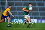 Padraic Collins, Clare, in action against Diarmuid O'Connor, Kerry, during the Munster Football Championship game between Kerry and Clare at Fitzgerald Stadium, Killarney on Saturday.