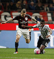 Calcio, Serie A: Milan vs Juventus. Milano, stadio San Siro, 9 aprile 2016. <br /> Juventus' Paul Pogba, right, is challenged by AC Milan's Juraj Kucka during the Italian Serie A football match between AC Milan and Juventus at Milan's San Siro stadium, 9 April 2016.<br /> UPDATE IMAGES PRESS/Isabella Bonotto