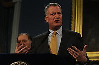 NEW YORK, NY - JANUARY 27: New York City Mayor Bill de Blasio speaks to the media about a large snow storm. Much of the Northeast is bracing for a major winter storm which is expected to bring blizzard conditions and 10 to 30 inches of snow. on January 27, 2015 in New York City<br /> <br /> People:  New York City Mayor Bill de Blasio