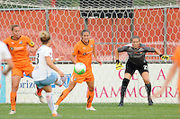 Ella Masar (3) of the Chicago Red Stars shoots and scores as Sky Blue FC goalkeeper Jenni Branam (23) minds the net during a Women's Professional Soccer (WPS) match at Yurcak Field in Piscataway, NJ, on August 01, 2010.