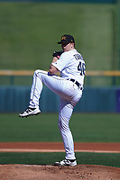 Mesa Solar Sox starting pitcher Spencer Turnbull (46), of the Detroit Tigers organization, delivers a pitch to the plate during an Arizona Fall League game against the Peoria Javelinas on October 25, 2017 at Sloan Park in Mesa, Arizona. The Solar Sox defeated the Javelinas 6-3. (Zachary Lucy/Four Seam Images)