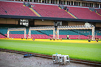 Work is nearing completion on the major revamped Millennium Stadium hybrid pitch, Cardiff, United Kingdom. 7th October 2014