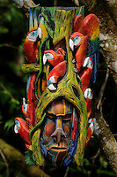"""Boruca Mask, Costa Rica<br /> <br /> The Boruca who are also known as the Brunca or the Brunka are a tribe of indigenous people living in Costa Rica. The indigenous peoples of the Americas are the pre-Columbian inhabitants of the Americas, their descendants, and many ethnic groups who identify with those peoples. They are often also referred to as Native Americans.<br /> They are best known for masks made for the """"Fiesta de los Diablitos"""" (or """"Danza de los Diablitos""""). The masks, depicting stylized devil faces, are worn by the men of Boruca during the fiesta. The masks are usually made of balsa wood or sometimes cedar, and may be painted or left natural."""