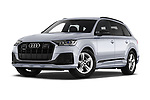 Stock pictures of low aggressive front three quarter view of 2020 Audi Q7 S-Line 5 Door SUV Low Aggressive