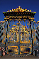 In the Ile de la Cité, a majestic golden gate with the main court of the Palais de Justice (Justice Palace) of Paris on the background. This is the Cour de Mai (Court of May).<br /> <br /> You can download this file for (E&PU) only, but you can find in the collection the same one available instead for (Adv).