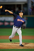 Scranton/Wilkes-Barre RailRiders relief pitcher Giovanny Gallegos (26) delivers a pitch during the first game of a doubleheader against the Rochester Red Wings on August 23, 2017 at Frontier Field in Rochester, New York.  Rochester defeated Scranton 5-4 in a game that was originally started on August 22nd but was was postponed due to inclement weather.  (Mike Janes/Four Seam Images)