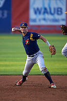 State College Spikes third baseman Cole Lankford (3) throws to first during a game against the Auburn Doubledays on July 6, 2015 at Falcon Park in Auburn, New York.  State College defeated Auburn 9-7.  (Mike Janes/Four Seam Images)