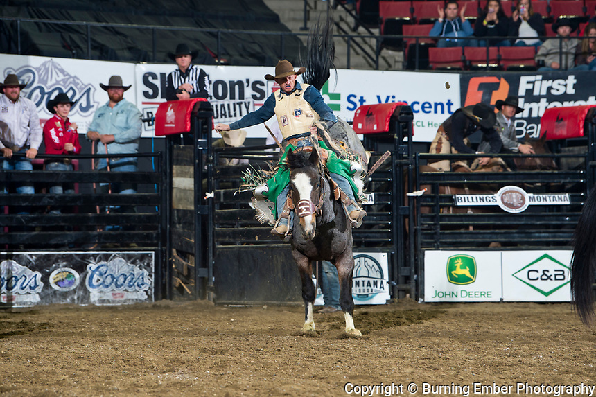 Allen Boore on Powder River Rodeo's Night Hawk at the NILE Rodeo 1st Perf Oct 17th, 2019.  Photo by Josh Homer/Burning Ember Photography.  Photo credit must be given on all uses.
