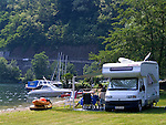 CHE, Schweiz, Tessin, Agno bei Lugano: Campingplatz am Luganer See | CHE, Switzerland, Ticino, Agno near Lugano: Camping ground at Lake Lugano