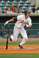 Charleston RiverDogs infielder Hoy Jun Park (1) at bat during a game against the Myrtle Beach Pelicans at Joseph P.Riley Jr. Ballpark on April 6, 2016 in Charleston, South Carolina. Myrtle Beach defeated Charleston 2-0. (Robert Gurganus/Four Seam Images)