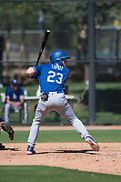 Los Angeles Dodgers infielder Deacon Liput (23) at bat during an Instructional League game against the San Diego Padres at Camelback Ranch on September 25, 2018 in Glendale, Arizona. (Zachary Lucy/Four Seam Images)