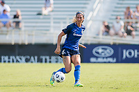 CARY, NC - SEPTEMBER 12: Abby Erceg #6 of the NC Courage passes the ball during a game between Portland Thorns FC and North Carolina Courage at Sahlen's Stadium at WakeMed Soccer Park on September 12, 2021 in Cary, North Carolina.