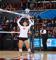 STANFORD, CA - December 1, 2017: Payton Chang at Maples Pavilion. The Stanford Cardinal defeated the CSU Bakersfield Roadrunners 3-0 in the first round of the NCAA tournament.