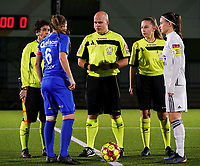 20.02.2020 OUD-HEVERLEE: Match referee  (on the left line referee Shauni Depruyst)  does the coin toss with the Genk's captain Riete Loos (left) and OHL's captain Anaelle Wiard (right) before the Belgian's Women's Super League match between Oud-Heverlee Leuven vs KRC Gent Ladies on Friday 20th February 2020, Stadion Oud-Heverlee, Oud-Heverlee, BELGIUM. PHOTO: SEVIL OKTEM