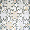 Reina, a waterjet and hand-cut mosaic shown in polished Cloud Nine and Ming Green, is part of the Miraflores collection by Paul Schatz for New Ravenna.