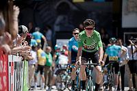 green jersey Wout van Aert (BEL/Jumbo - Visma) at sign-on<br /> <br /> Stage 8: Cluses (FRA) to Champéry (SUI)(113km)<br /> 71st Critérium du Dauphiné 2019 (2.UWT)<br /> <br /> ©kramon