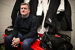 © Joel Goodman - 07973 332324 . 14/11/2015 . Manchester , UK . Manager KARL MARGINSON pre-match , in the manager's office . FC United host Gainsborough Trinity in the National League North at Broadhurst Park . NB requested changing room access three times and was denied three times . Photo credit : Joel Goodman