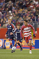 FC Dallas midfielder Andre Rocha (11) brings the ball forward. The New England Revolution defeated FC Dallas, 2-1, at Gillette Stadium on April 4, 2009. Photo by Andrew Katsampes /isiphotos.com