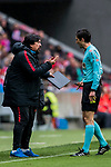 Assistant Coach German Burgos (L) of Atletico de Madrid speaks to referee Jose Luis Munuera Montero during the La Liga 2017-18 match between Atletico de Madrid and Getafe CF at Wanda Metropolitano on January 06 2018 in Madrid, Spain. Photo by Diego Gonzalez / Power Sport Images
