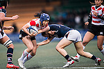 Keiko Kato of Japan (l) competes against Hong Kong during the Womens Rugby World Cup 2017 Qualifier match between Hong Kong and Japan on December 17, 2016 in Hong Kong, Hong Kong. Photo by Marcio Rodrigo Machado / Power Sport Images