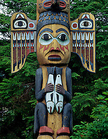 Southeast Alaska Totem, Tlingit Indian Totem at Totem Bight Totem Park, Ketchikan, Alaska.