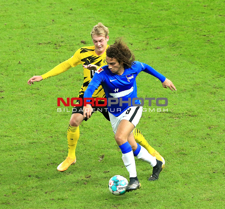 21.11.2020, OLympiastadion, Berlin, GER, DFL, 1.FBL, Hertha BSC VS. Borussia Dortmund, <br /> DFL  regulations prohibit any use of photographs as image sequences and/or quasi-video<br /> im Bild Matteo Guendouzi (Hertha BSC Berlin #8), Julian Brandt (Borussia Dortmund)<br /> <br />       <br /> Foto © nordphoto / Engler